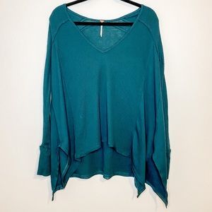 Free People Teal Waffle Thermal